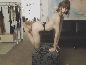 Sporty girl does an erotic dance