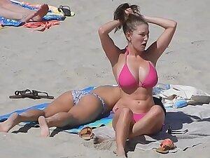 Extraordinary big boobs in pink bikini