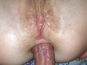 Fucking an orgasmic girl in pussy and ass