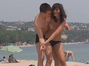 Jiu jitsu with topless girlfriend Picture 7