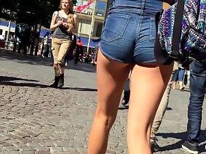Tall teen girl in skin tight shorts