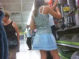 Spying upskirts of mother and daughter