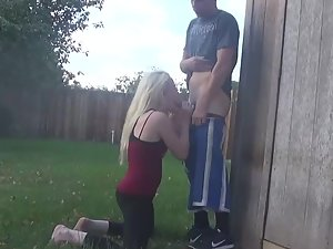 Blowjob in the backyard
