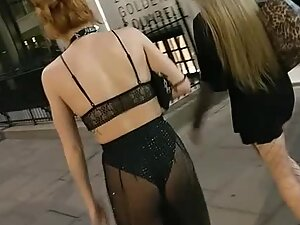 Slutty ginger shows ass and thong in transparent pants