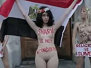 Naked girls protesting against sharia