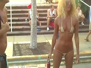 Sexy woman in a very skimpy bikini