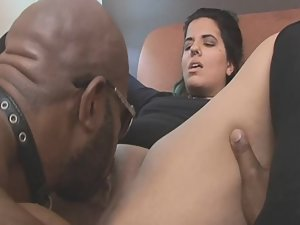Chubby latina fucked by big black guy