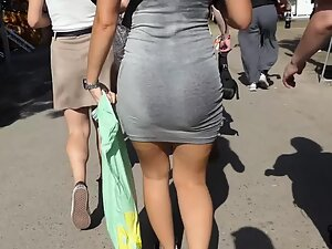 Hot sweaty ass in tight cotton dress