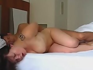 Sideways fuck of her tight twat