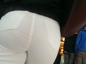 Noticeable ass in tight white jeans