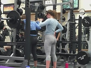 Hot butts doing squats in gym Picture 2
