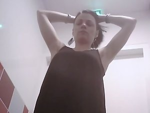 Curvy girl spied showering at work