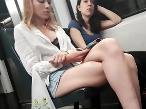 Long legs and perfect ass in train