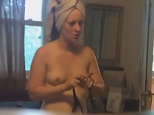 Naked girl spied with a hidden camera