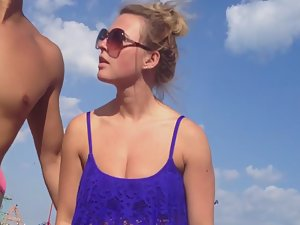Visible cameltoe in white bikini