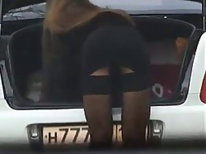 Girl shows her sex appeal as she bend over