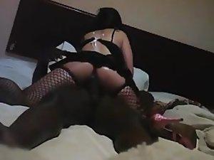 White bitch rides a big black dick