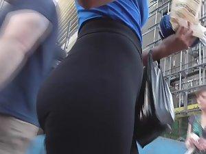 Dream girl in tight black leggings