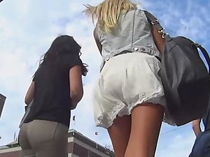 Upskirt of above average blonde