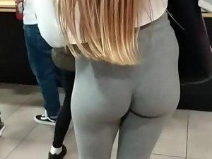 Long hair falls down to wonderful butt cheeks