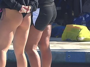 Sexy swimmer bends over by the pool Picture 5