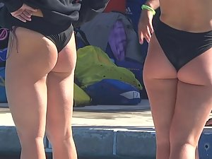 Sexy swimmer bends over by the pool Picture 8