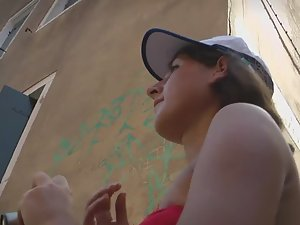 Tourist teen girl's ass seen in upskirt
