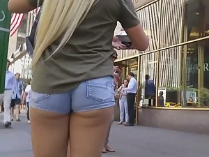 Thick girl with long blond hair and wedgie