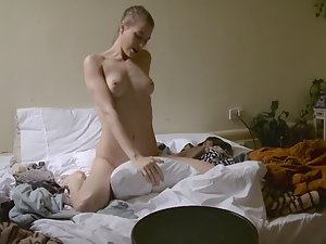 Horny girl spied while grinding on pillow