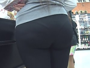 Visible thong panty line on very big ass
