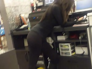 Super sexy clerk in glasses store