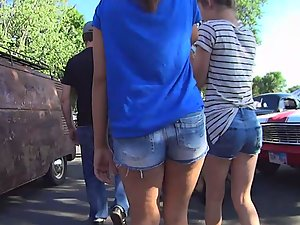 Voyeur busted by girl with a wedgie