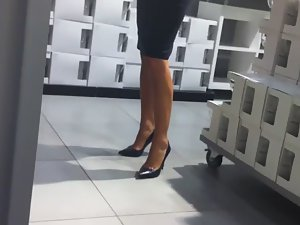 Leggy milf at the furniture store