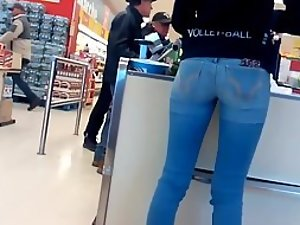 Hot girl packing the groceries