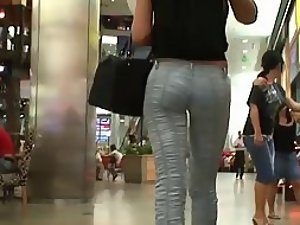 Fancy tight pants cover her sweet ass