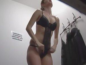 Spying a hot girl shopping for erotic lingerie