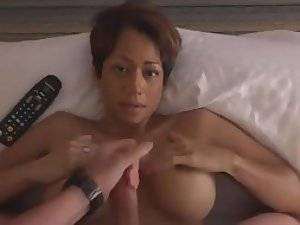 Amazing blowjob from a hot busty milf
