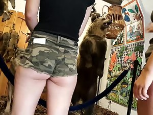 Camouflage shorts go far up ass crack