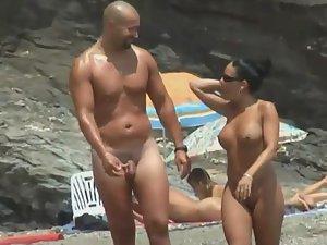 Big nudist guy and his short beautiful girl