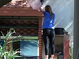 Neighbor strolls out in her black tights Picture 3
