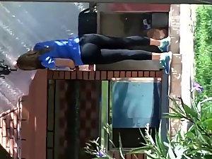 Neighbor strolls out in her black tights Picture 8