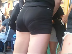 Standing close to ultra tight young ass