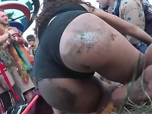 Dirty ass of a slutty rave girl