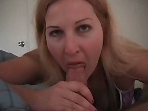 Blowjob interrupted by her parents