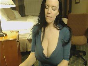 Cumshot on gigantic natural boobs