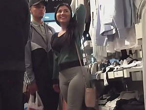 Chubby girl shops with boyfriend