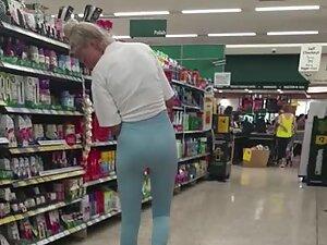 Enjoying her long legs and sweet ass in leggings