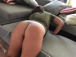 Girlfriend's hot ass while she looks for television remote