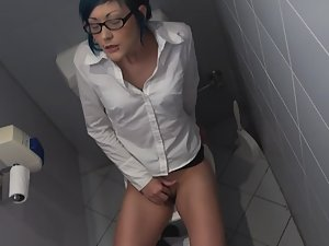 Horny girl caught in office toilet room Picture 8