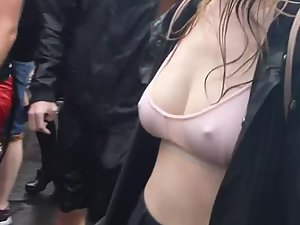 Party girl with wet hard nipples